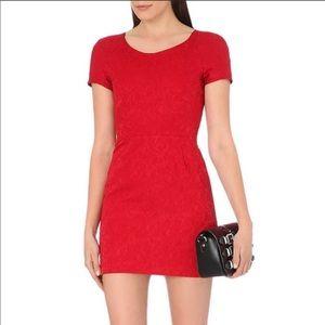 The Kooples Heavy Jacquard Mini Dress: Red
